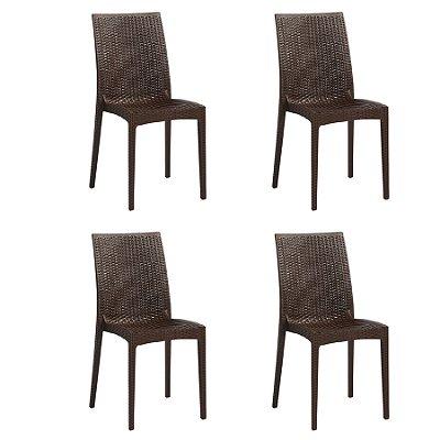 Kit 4x Cadeira Design Ibiza Marrom Externa e Interna Tramas tipo Rattan Cozinhas Varandas Salas Fratini