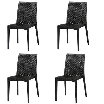 Kit 4x Cadeira Design Ibiza Preta Externa e Interna Tramas tipo Rattan Cozinhas Varandas Salas Fratini