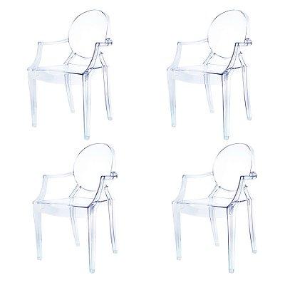 Kit 4x Cadeira Design Louis Ghost Transparente Incolor Com Braços Moderna Cozinhas Salas Jantar Versalhes Fratini