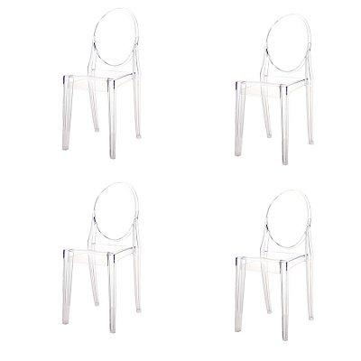 Kit 4x Cadeira Design Louis Ghost Transparente Incolor Moderna Cozinhas Salas Jantar Viena Fratini