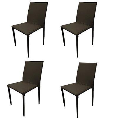 Kit 4x Cadeira Design Quadrada Marrom Fendi Estofado Tecido Couro Moderna Cozinhas Salas Zurique Fratini