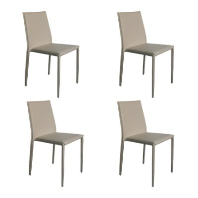 Kit 4x Cadeira Design Quadrada Preto Gelo Estofado Tecido Couro Moderna Cozinhas Salas Zurique Fratini