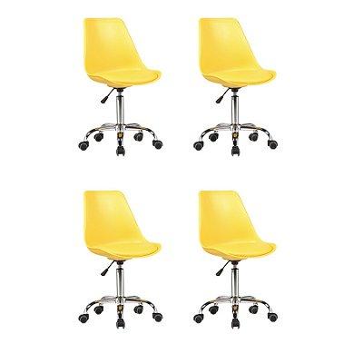 Kit 4x Cadeira Design Saarinen Office Eames Eiffel Rodizio Amarela Quartos Chicago Fratini