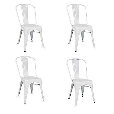 Kit 4x Cadeira Design Tolix Iron Francesinha Xavier Pauchard Branca Cozinhas Berlin Fratini