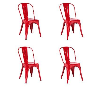Kit 4x Cadeira Design Tolix Iron Francesinha Xavier Pauchard Vermelho Cozinhas Berlin Fratini