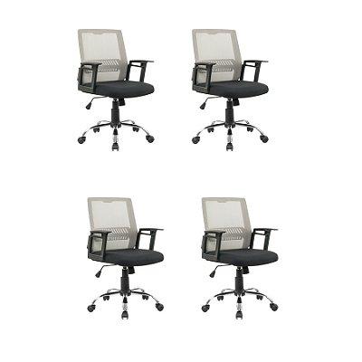 Kit 4x Cadeira Escritorio Fratini Office Rodizio Atlanta Cinza Giratoria Diretor Com Braços