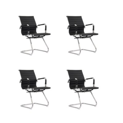 Kit 4x Cadeira Escritorio Fratini Office Rodizio Eames Manhattan Preto Cromado Fixa Diretor Com Braços