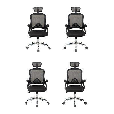 Kit 4x Cadeira Escritorio Fratini Office Rodizio Los Angeles Cinza Giratoria Presidente Com Braços