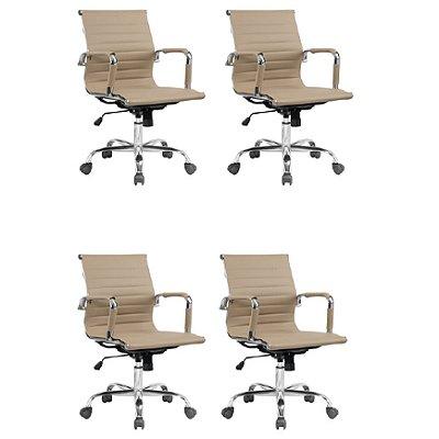 Kit 4x Cadeira Escritorio Fratini Office Rodizio Manhattan Eames Fendi Cromado Giratoria Diretor Com Braços