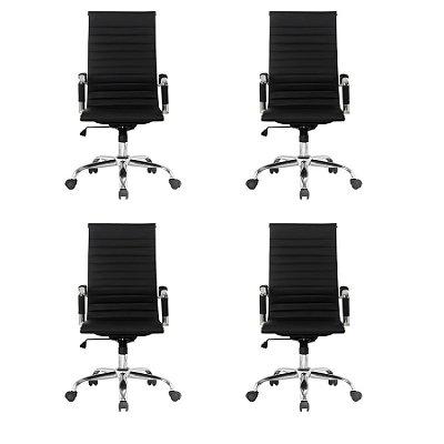 Kit 4x Cadeira Escritorio Fratini Office Rodizio Manhattan Eames Preto Cromado Giratoria Presidente Com Braços