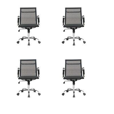 Kit 4x Cadeira Escritorio Fratini Office Rodizio Sidney Eames Preto Cromado Giratoria Presidente Com Braços