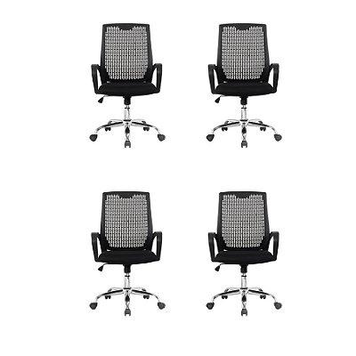 Kit 4x Cadeira Escritorio Fratini Office Rodizio Singapura Eames Preto Cromado Giratoria Presidente Com Braços