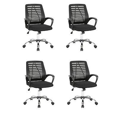 Kit 4x Cadeira Escritorio Fratini Office Rodizio Toronto Eames Preto Cromado Giratoria Presidente Com Braços