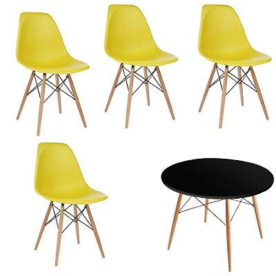 Kit 4x Cadeira Mesa Fratini Design Eames Eiffel DAR Ray Pes Madeira Natural Salas Florida Amarela Preta Assento Polipropileno