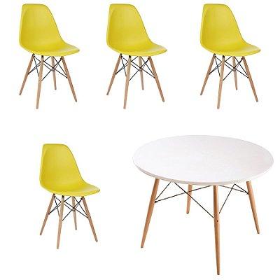 Kit 4x Cadeira Mesa Fratini Design Eames Eiffel DAR Ray Pes Madeira Natural Salas Florida Amarela Branca Assento Polipropileno