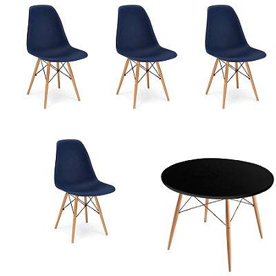 Kit 4x Cadeira Mesa Fratini Design Eames Eiffel DAR Ray Pes Madeira Natural Salas Florida Azul Marinho Preta Assento Polipropileno