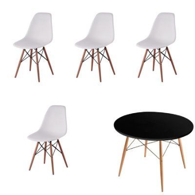 Kit 4x Cadeira Mesa Fratini Design Eames Eiffel DAR Ray Pes Madeira Natural Salas Florida Branco Preta Assento Polipropileno