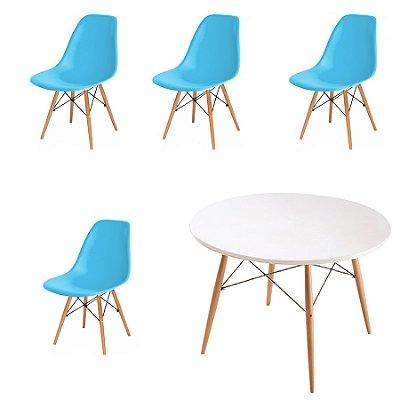 Kit 4x Cadeira Mesa Fratini Design Eames Eiffel DAR Ray Pes Madeira Natural Salas Florida New Blue Branca Assento Polipropileno