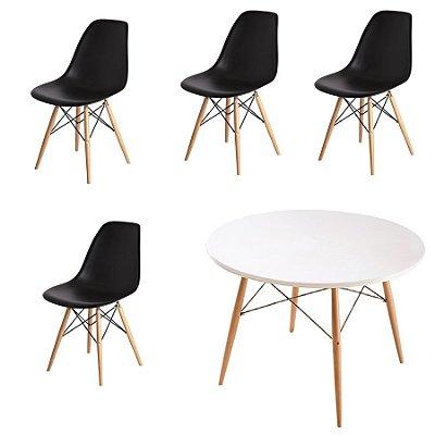 Kit 4x Cadeira Mesa Fratini Design Eames Eiffel DAR Ray Pes Madeira Natural Salas Florida Preto Branca Assento Polipropileno