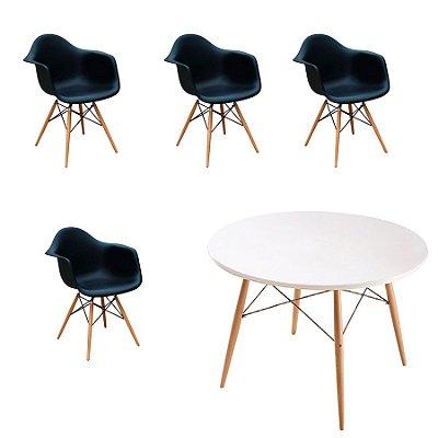Kit 4x Cadeira Mesa Fratini Design Eames Eiffel DAR Ray Pes Madeira Natural Salas Florida Preto Branca Braços Polipropileno