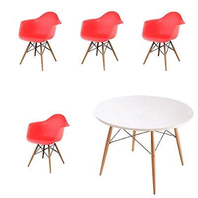 Kit 4x Cadeira Mesa Fratini Design Eames Eiffel DAR Ray Pes Madeira Natural Salas Florida Vermelho Branca Braços Polipropileno
