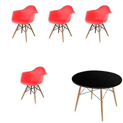 Kit 4x Cadeira Mesa Fratini Design Eames Eiffel DAR Ray Pes Madeira Natural Salas Florida Vermelho Preto Braços Polipropileno