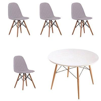 Kit 4x Cadeira Mesa Fratini Design Eames Eiffel DAR Ray Pes Madeira Natural Salas Nice Gelo Branca Assento Polipropileno