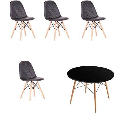Kit 4x Cadeira Mesa Fratini Design Eames Eiffel DAR Ray Pes Madeira Natural Salas Nice Preto Preta Assento Polipropileno