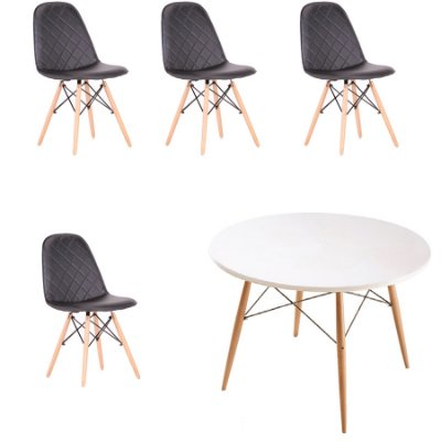 Kit 4x Cadeira Mesa Fratini Design Eames Eiffel DAR Ray Pes Madeira Natural Salas Nice Preto Branca Assento Polipropileno