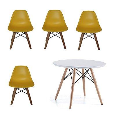 Kit 4x Cadeira Mesa Fratini Kids Infantil Amarelo Design Eames Eiffel DAR Ray Pes Madeira Natural Florida Assento Polipropileno