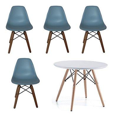 Kit 4x Cadeira Mesa Fratini Kids Infantil Azul Design Eames Eiffel DAR Ray Pes Madeira Natural Florida Assento Polipropileno