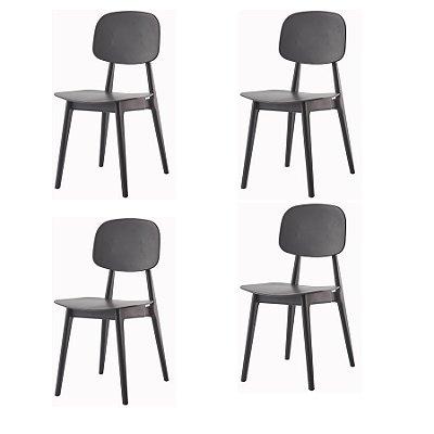 Kit 4x Cadeira Resistente Preto  Cozinhas Restaurantes Gourmet Varanda Bares Vegas Fratini