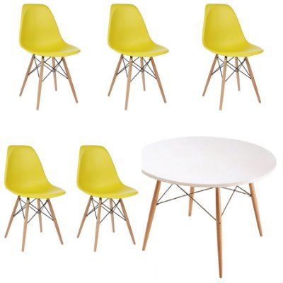 Kit 5x Cadeira Mesa Fratini Design Eames Eiffel DAR Ray Pes Madeira Natural Salas Florida Amarela Branca Assento Polipropileno