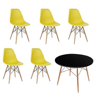 Kit 5x Cadeira Mesa Fratini Design Eames Eiffel DAR Ray Pes Madeira Natural Salas Florida Amarela Preta Assento Polipropileno