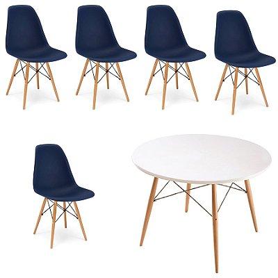 Kit 5x Cadeira Mesa Fratini Design Eames Eiffel DAR Ray Pes Madeira Natural Salas Florida Azul Marinho Branca Assento Polipropileno