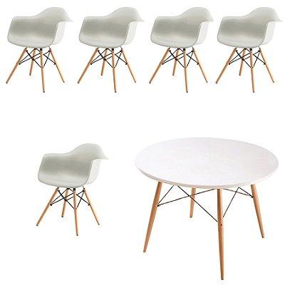 Kit 5x Cadeira Mesa Fratini Design Eames Eiffel DAR Ray Pes Madeira Natural Salas Florida Branca Braços Polipropileno