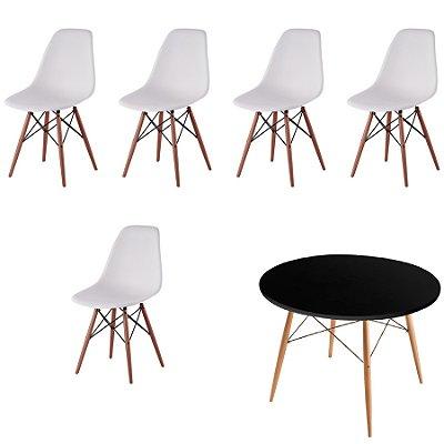 Kit 5x Cadeira Mesa Fratini Design Eames Eiffel DAR Ray Pes Madeira Natural Salas Florida Branco Preta Assento Polipropileno