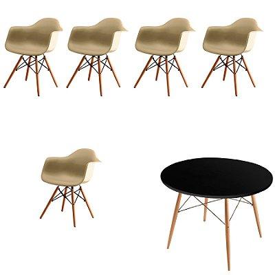 Kit 5x Cadeira Mesa Fratini Design Eames Eiffel DAR Ray Pes Madeira Natural Salas Florida Fendi Preta Braços Polipropileno