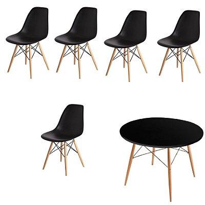 Kit 5x Cadeira Mesa Fratini Design Eames Eiffel DAR Ray Pes Madeira Natural Salas Florida Preta Assento Polipropileno