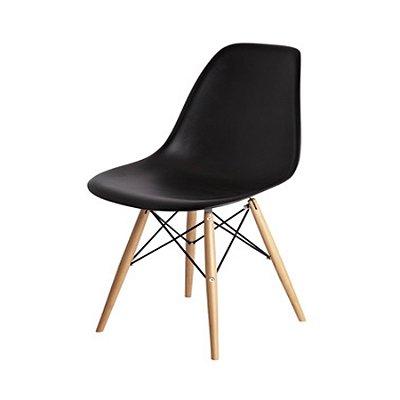 Kit 5x Cadeira Mesa Fratini Design Eames Eiffel DAR Ray Pes Madeira Natural Salas Florida Preto Branca Assento Polipropileno