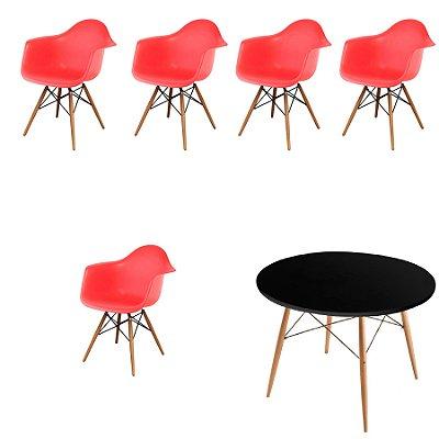 Kit 5x Cadeira Mesa Design Eames Eiffel DAR Ray Pes Madeira Salas Florida Vermelho Preto Braços Polipropileno Fratini