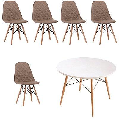 Kit 5x Cadeira Mesa Fratini Design Eames Eiffel DAR Ray Pes Madeira Natural Salas Nice Fendi Branca Assento Polipropileno