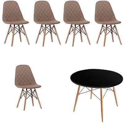Kit 5x Cadeira Mesa Fratini Design Eames Eiffel DAR Ray Pes Madeira Natural Salas Nice Fendi Preta Assento Polipropileno