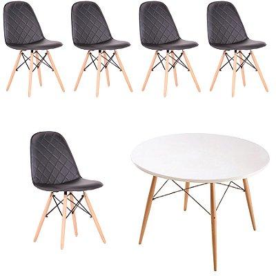 Kit 5x Cadeira Mesa Fratini Design Eames Eiffel DAR Ray Pes Madeira Natural Salas Nice Preto Branca Assento Polipropileno