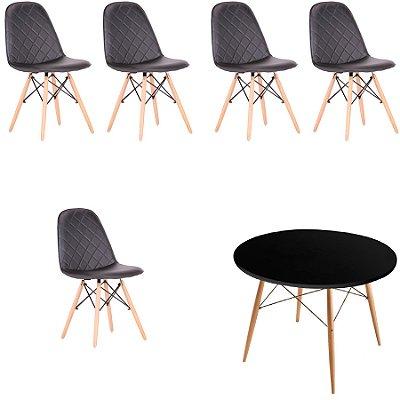 Kit 5x Cadeira Mesa Fratini Design Eames Eiffel DAR Ray Pes Madeira Natural Salas Nice Preto Preta Assento Polipropileno