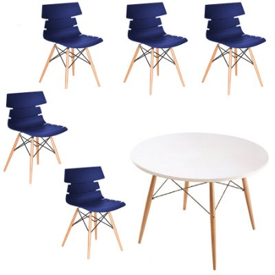 Kit 5x Cadeiras Mesa Redonda Design Eames Eiffel DAR Ray Pes Madeira Salas Valencia Azul Marinho Branco Fratini