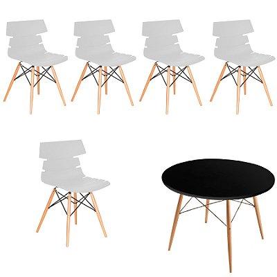 Kit 5x Cadeiras Mesa Fratini Redonda Design Eames Eiffel DAR Ray Pes Madeira Natural Salas Valencia Branco