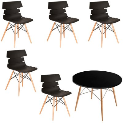 Kit 5x Cadeiras Mesa Redonda Design Eames Eiffel DAR Ray Pes Madeira Salas Valencia Branco Fratini