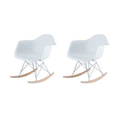 Kit 6x Cadeira Balanço Design Eames Eiffel DAR Ray Salas Florida Branco Braços Polipropileno Fratini