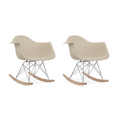 Kit 6x Cadeira Balanço Design Eames Eiffel DAR Ray Salas Florida Fendi Braços Polipropileno Fratini